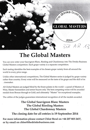 The Global Masters Riesling September 2014